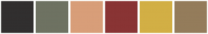 Color Scheme with #312F2F #6E7262 #D89E79 #893434 #D2AF45 #947C5B