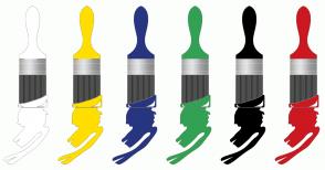 Color Scheme with #FFFFFF #FFDE00 #283580 #33A154 #000000 #CC1821