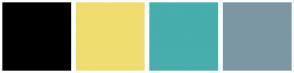 Color Scheme with #000000 #EFDD6F #47ADAD #7C97A3
