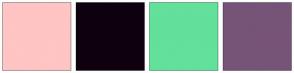 Color Scheme with #FFC4C4 #0F000F #63E09B #765478
