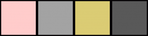 Color Scheme with #FFCCCB #A3A3A3 #DBCC74 #595959