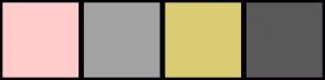 Color Scheme with #FFCCCB #A3A3A3 #DBCC74 #595959