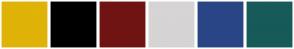 Color Scheme with #DFB307 #000000 #701313 #D6D4D4 #2A4585 #175A5A