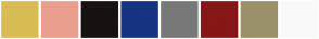 Color Scheme with #D8BD54 #EA9F8F #181212 #163482 #787878 #871717 #9A916B #F9F9F9