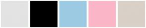 Color Scheme with #E3E3E3 #000000 #9DCAE3 #FAB6C7 #D9D0C7