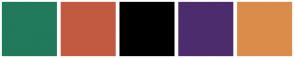 Color Scheme with #217A5B #C25A40 #000000 #4D2C6E #DB8C4B