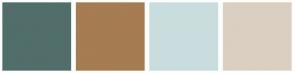 Color Scheme with #516E6B #A67C53 #CADDDE #DBCFC1