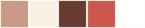 Color Scheme with #C99A85 #FAEFE3 #663D30 #CC584B #FFFFFF
