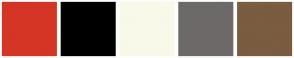 Color Scheme with #D43525 #000000 #F9F9E9 #6D6969 #7A5C41