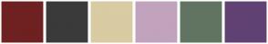 Color Scheme with #6F2121 #3A3A3A #D9CBA2 #C1A3BE #617462 #614174