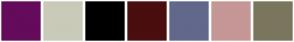 Color Scheme with #650B5B #CACAB8 #000000 #4A0E0E #62688C #C69797 #7A765E