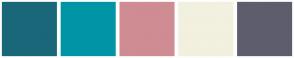 Color Scheme with #1A677A #0095A6 #CF8C93 #F2F0DF #5E5D6E