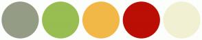 Color Scheme with #959C86 #98BD51 #F1B848 #BB0E05 #F2F0D2