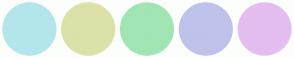 Color Scheme with #B3E6EB #DCE1A8 #A1E5B4 #BFC2EB #E4BEF0