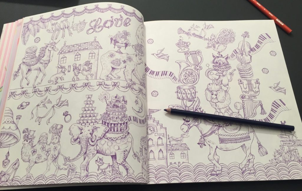 Magical Circus - Double page scene outlined in purple