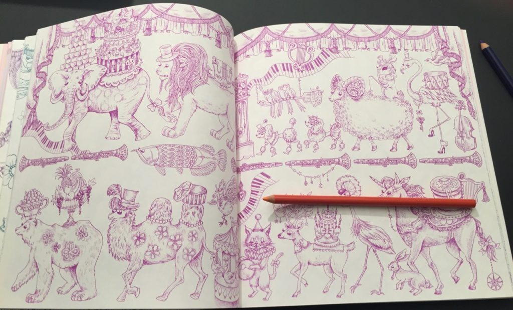 Animal Parade - double page spread in fushia line work