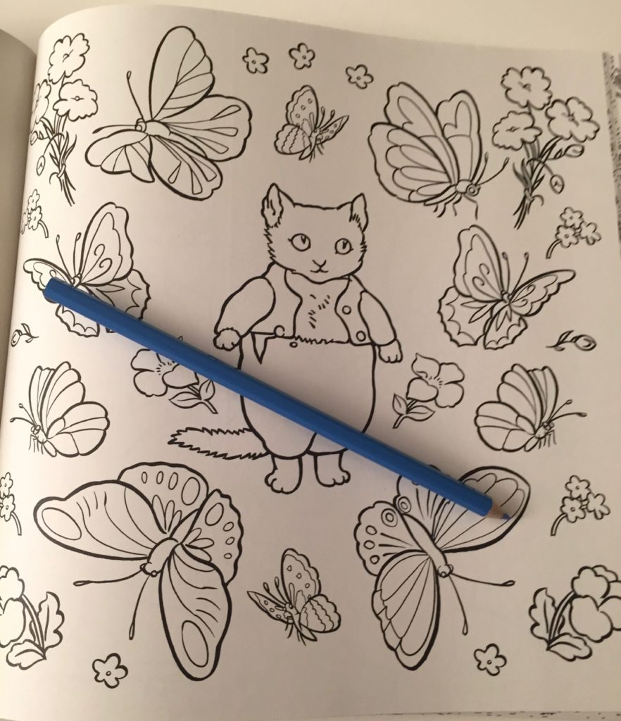 Tom Kitten - surrounded by butterflies - Beatrix Potter Coloring Book Review