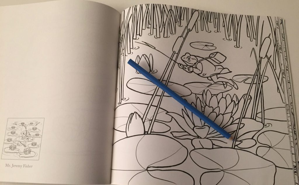 Mr Jeremy Fisher - lots of large areas to color. A thumbnail and title on the facing page shows the previous illustration details Beatrix Potter Coloring Book Review