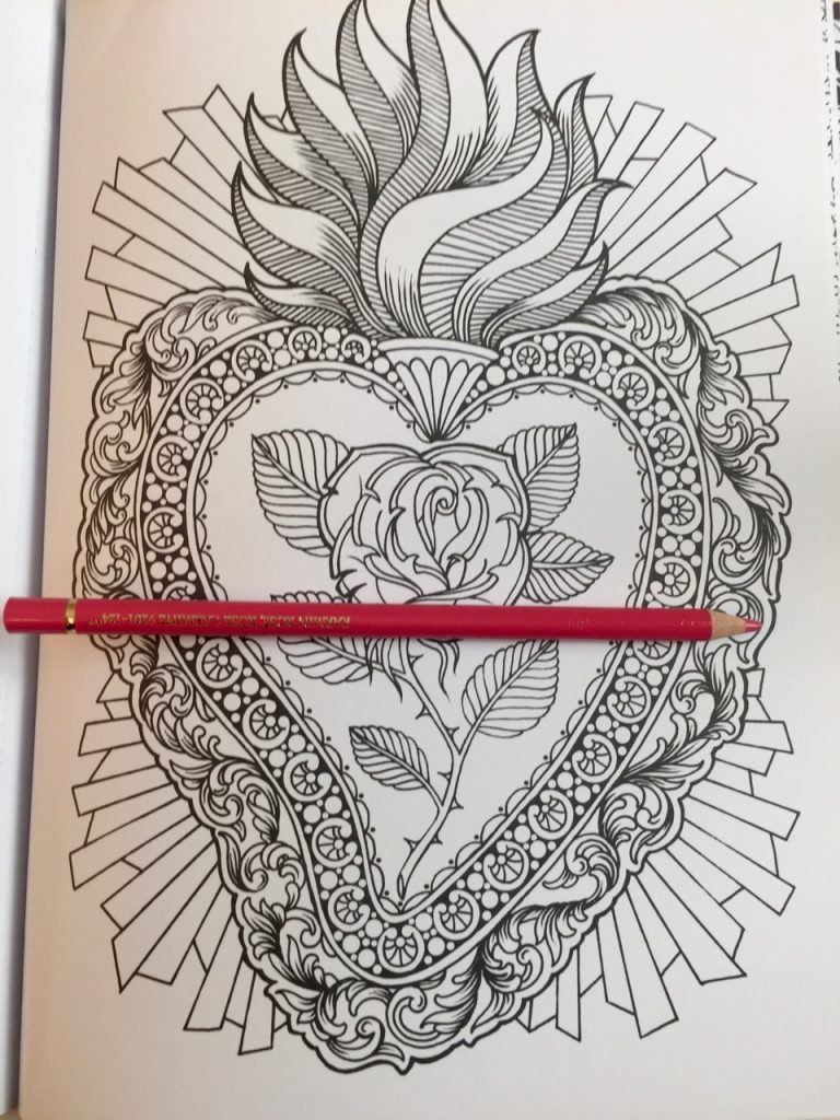 traditional heart tattoo from Megan Massacre Coloring Book