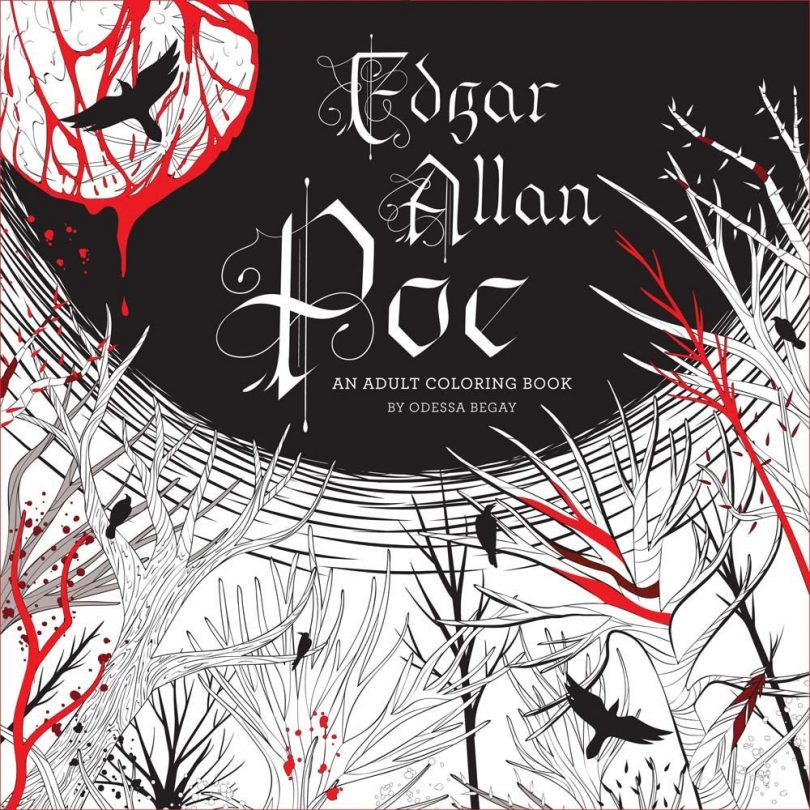 Poe coloring book 810x810 - Edgar Allan Poe - An Adult Coloring Book