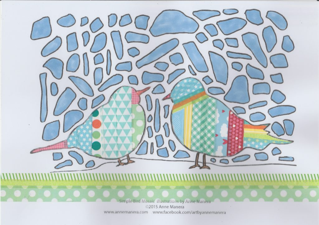 decorating coloring pages with washi tape