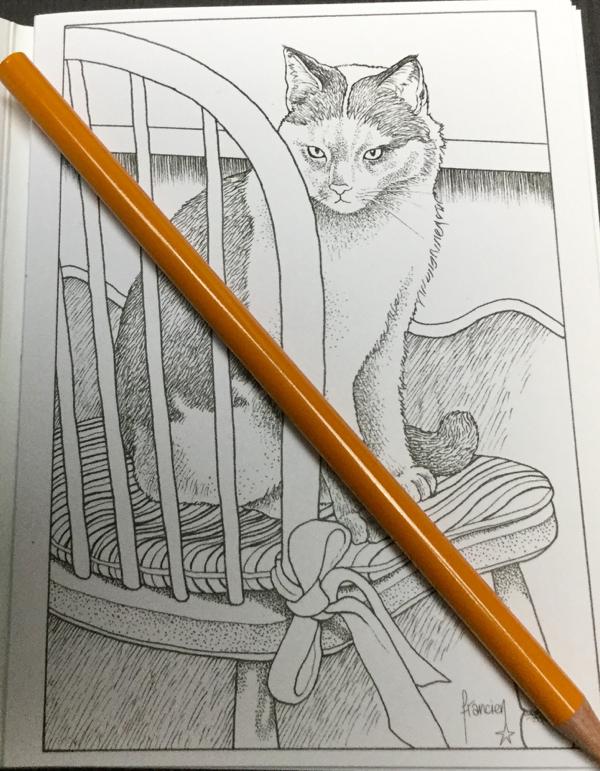 Franciens Kattenkleurboek  9 - Franciens kattenkleurboek om te versturen Coloring Postcards Review