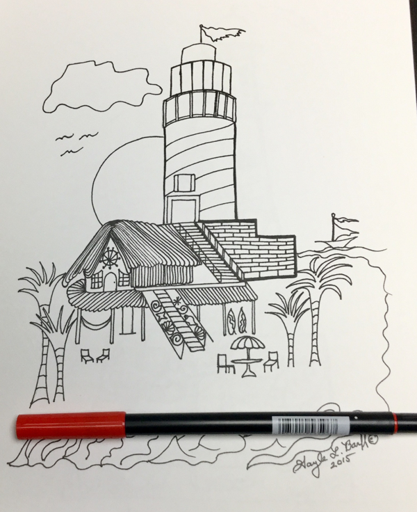 Scenic Lighthouses Coloring Book, lighthouse overlooking houses