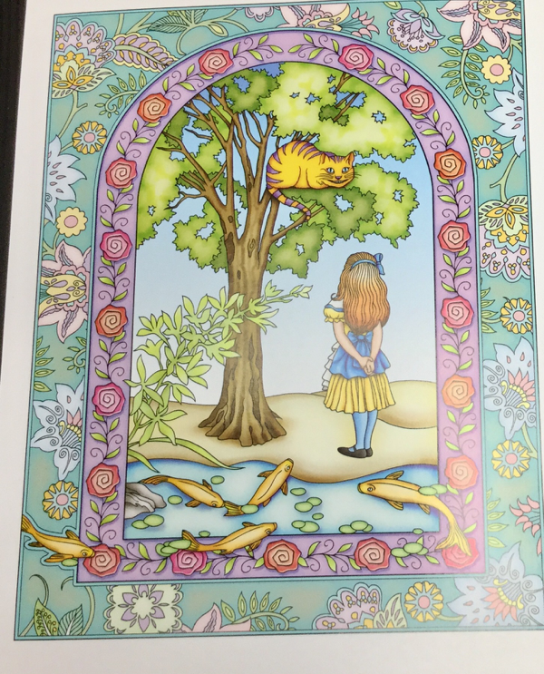 Alice in Wonderland Coloring Book completed colored image