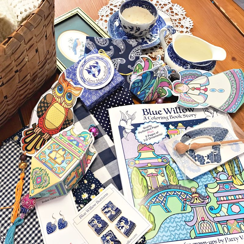 Inspired by Blue Willow china for her first coloring book