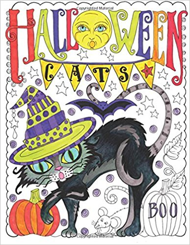 Halloween Cats: Adult Coloring Book