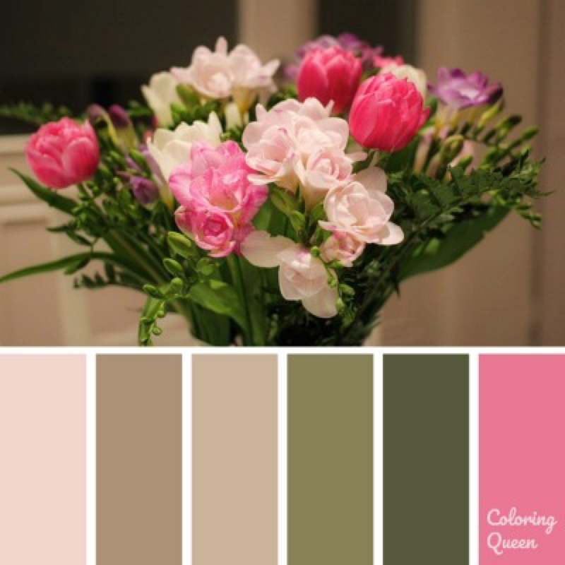 pink and white flower bouquet color scheme