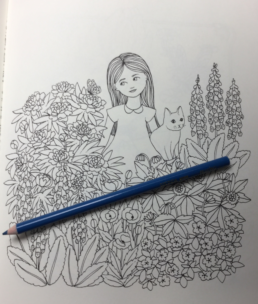 sweet little girl and her cat from the Botanicum coloring book by Maria Trolle
