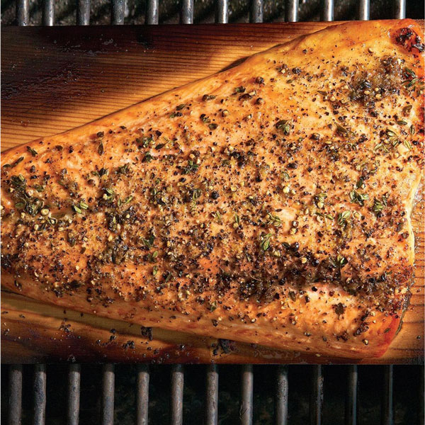 Photo of Cedar-Planked Salmon with Lemon-Pepper Rub and Horseradish-Chive Sauce