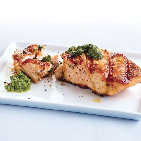 Photo of Grilled Salmon with Walnut-Arugula Pesto