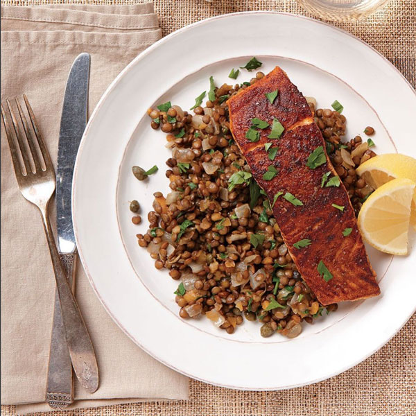 Photo of North African Spiced Salmon Over French Lentils
