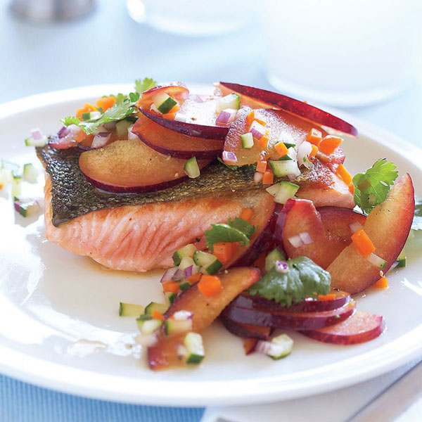 Photo of Pan-Seared Salmon with Plum-Cucumber Salad