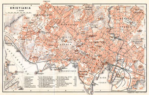 Christiania (Oslo) city map, 1911