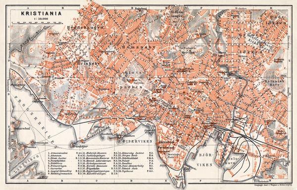Christiania (Oslo) city map, 1910