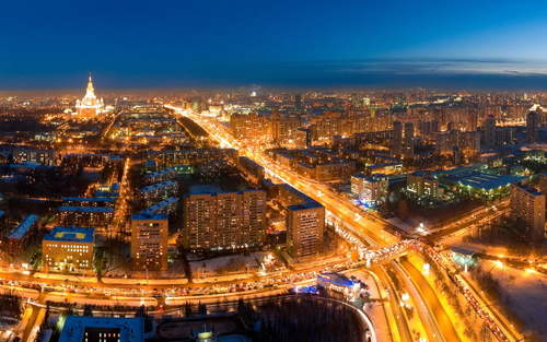 Lights-road-moscow-night-wallpaper
