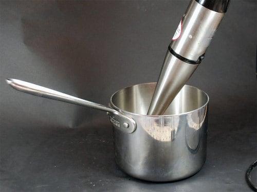 Immersion blender in use