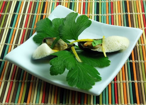 Curry mussels with curry foam