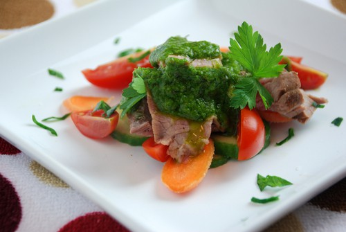 Flank steak chimichurri sauce