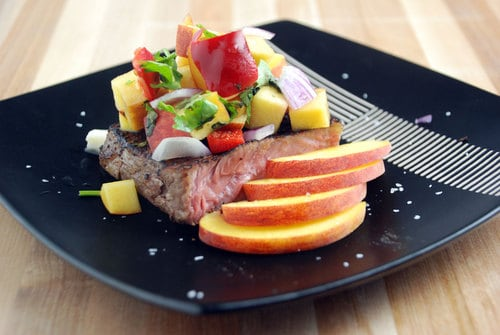 Hangar steak peach salsa