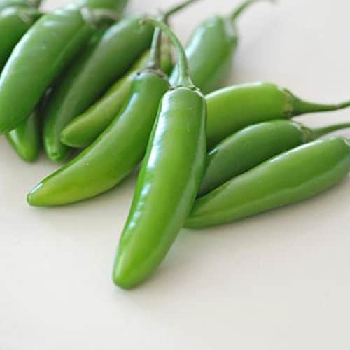 Serrano peppers green pile