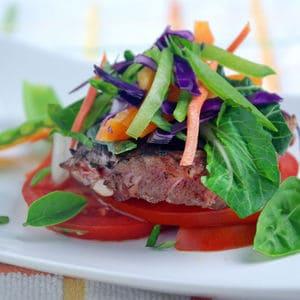 Sirloin steak lime ginger slaw side