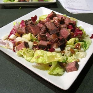 Sous vide beef salad figs