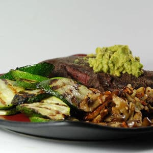Sous vide steak avacado mushrooms