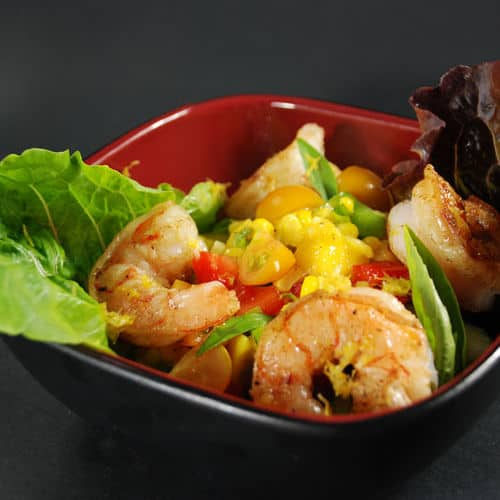 Sous vide shrimp salad