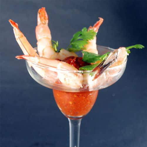 Sous vide shrimp cocktail square