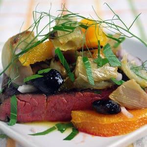 Sous vide tri tip roasted fennel olive salad
